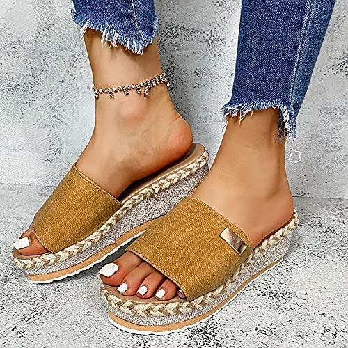 WENHUA Zapatillas de Ducha para Mujer y Hombre, Shower Slides, Pendiente de Engrosamiento de Mujer de Gran tamaño con Zapatillas, Yellow_42