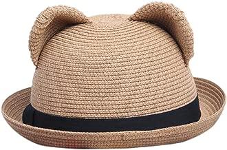Women's Cute Cat Ear Bowler Straw Sun Summer Beach Roll-up Curly Brim Hat Cap