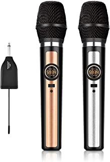 Wireless Microphone System, UHF Dual Handheld Dynamic Wireless Mic Set with Rechargeable Receiver, 1/4