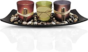 Urban Deco Natural Candlescape Set 3 Decorative Candle Holders, Rocks and Tray Tea Light Candle Holder Set Ideal Gift for Spa Wedding Party (Candle Holder Set - 2)