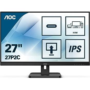 AOC 27P2C - Monitor de 68 cm (27 Pulgadas, HDMI, DisplayPort, conexión USB-C, hub USB, Tiempo de Respuesta de 4 ms, 1920 x 1080, 75 Hz, Pivot), Color Negro: Amazon.es: Informática