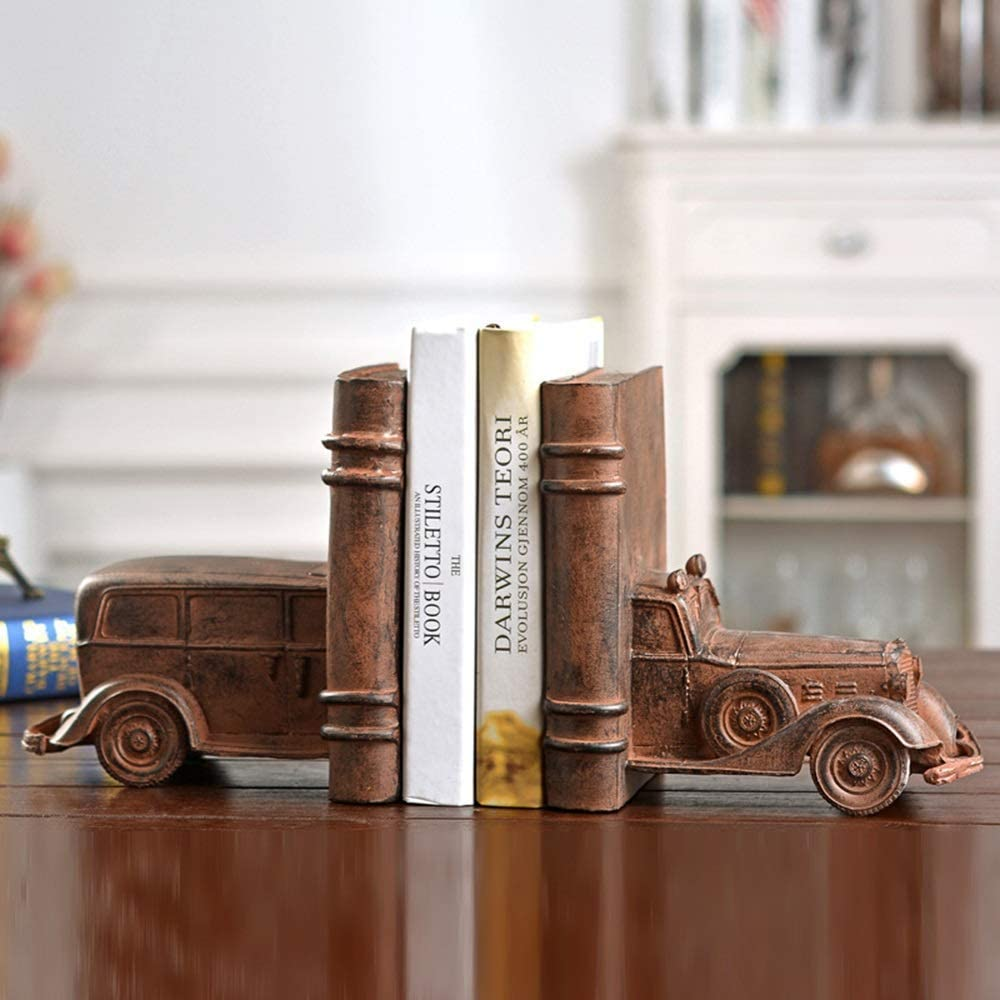 JF-XUAN Bookends NEW before selling Retro Nostalgic Resin Classic Shape Car Max 61% OFF Bookend