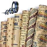Jolintek Carta Regalo Carta Kraft, 6 Fogli di Carta da Regalo con 2 Rotoli di Nastro Regalo, Carta Regalo Bambini Uomo Donna Regali, Carta da Pacchi per Compleanno, Natale, Anniversari, 75x52cm