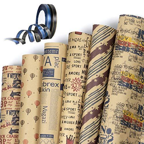 Jolintek Geschenkpapier, 6 Bogen Kraftpapier Geschenkpapier mit 2 Rolle Band, Geschenkpapier Geburtstag, Geschenkpapier Kinder, Geschenkverpackung Papier für Geburtstag, Weihnachten, Valentinstag