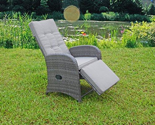 Unbekannt VARILANDO 2er-Set Relax-Sessel aus Aluminium und Kunststoffgeflecht in dunkelgrau Garten-Sessel