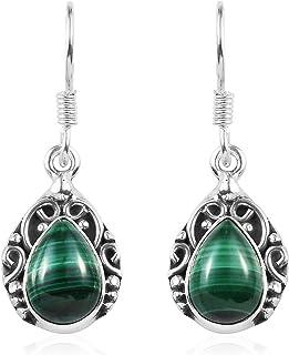 Womens Green Malachite Dangle Drop Earrings Vintage Tribal Jewelry Gift for Women(Oval/Round/Leaf)