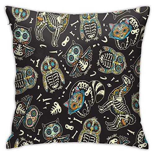 Funda de almohada cuadrada con diseño de búho y pingüino, diseño de calavera de azúcar