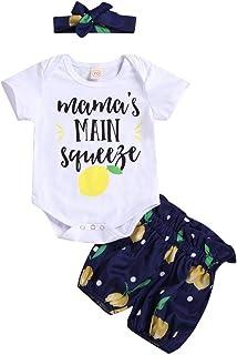 FYMNSI Tenue de Vêtements pour Bébé Nouveau-né Filles Ete Ensemble, Manche Courte Body Barboteuse et Short Imprimé Fleur e...