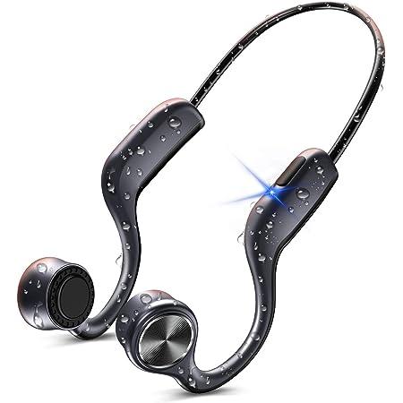 骨伝導イヤホン 【改良版】 Bluetooth イヤホン ブルートゥース イヤホン スポーツ ワイヤレスイヤホン Hi-Fi 超軽量 耳掛け式 両耳通話 CVC8.0ノイズキャンセリング IPX7防水 AAC対応 SUTOMO 一年間保証付き