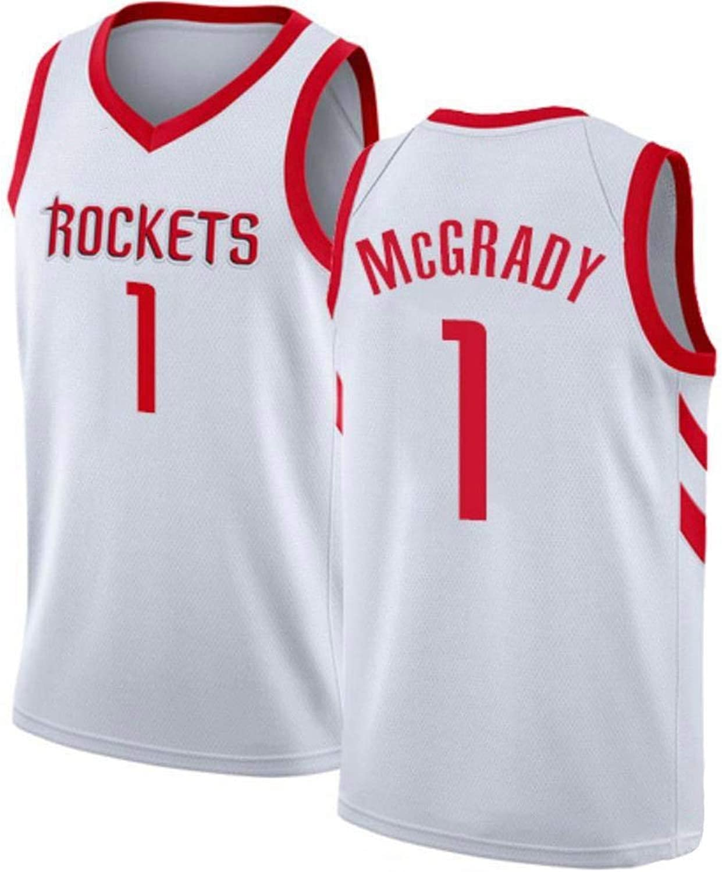 ZAIYI-Jersey Herren Basketball Jersey Tracy McGrady   1 NBA Houston Rockets-New Stoff Bestickt Swingman Jersey rmelloses Shirt (Farbe   B, Größe   S)