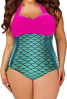f055ace9d8 Plus Size Women Halter Mermaid Fish Scale Print One-Piece Monokini Push-Up  Padded