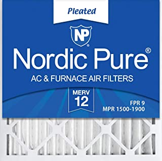 Nordic Pure 20x20x2 MERV 12 Pleated AC Furnace Air Filters 3 Pack, 3 PACK, 3 PACK
