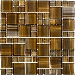 Brown Watercolor Glass Tile Mosaic Blend Mix 1