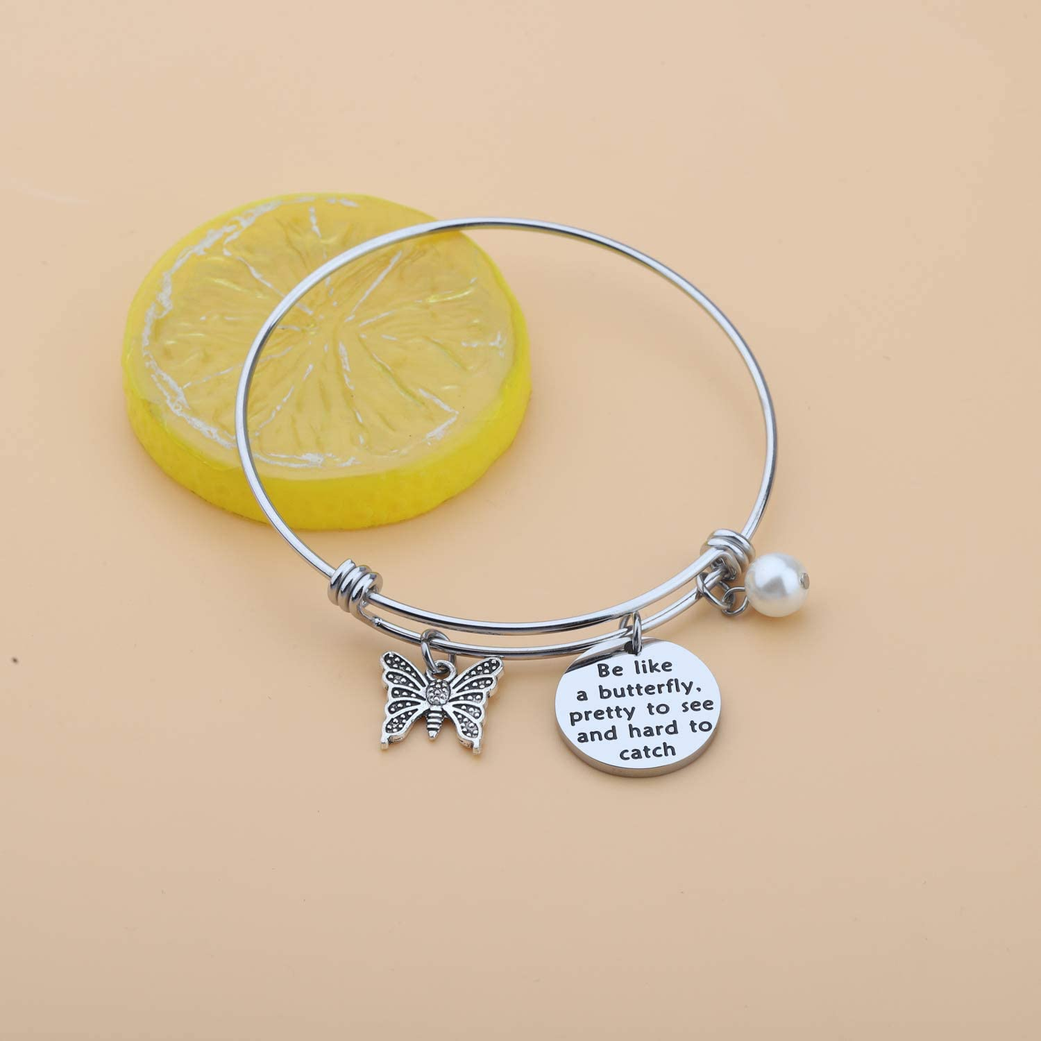 HOLLP Butterfly Charm Bracelet Butterfly Friend Encouragement Gifts Bracelet Be Like A Butterfly Pretty to See and Hard to Catch Jewelry