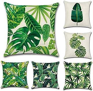 HELLOYOUNG Plantas Tropicales Cactus Monstera Funda de cojín de algodón Decorativa de Verano Funda de cojín de Lino Funda de cojín de Hoja de Palma Verde para el hogar (02)