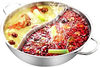 Yzakka Stainless Steel Shabu Hot Pot with with Divider for Induction Cooktop Gas Stove, 30cm, Without Cover