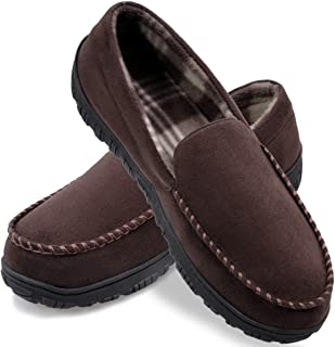 Sponsored Ad - shoeslocker Mens Slippers Microsuede Moccasin Slip on Memory Foam House Shoes