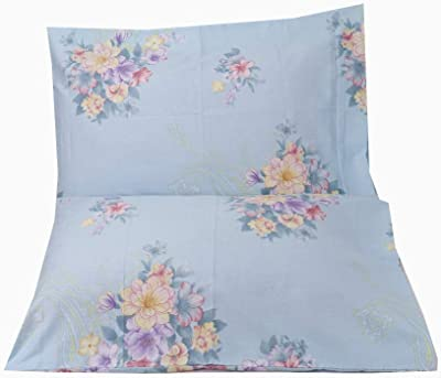 YIH Blue Pillow Cases Flower Printed, 100% Cotton 600 Thread Count Cotton Pillow Sham, Queen Size