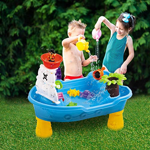 Sand Water Table Center, Indoor Outdoor Sand and Water Activity Table Sand Water Tables, Pirate Ship Beach Toys Kids Water Play Table, 2-in-1 Children Square Summer Seas Waterpark