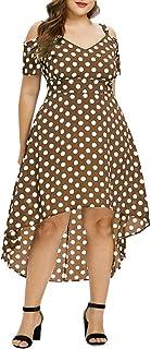LOPILY 50er Jahre Kleid Große Größen Gepunktes Wickelkleid Sexy V-Ausschnitt Vintage Retro Kleid Rockabilly Kleid mit Punkte Muster Midikleid Übergrößen für Hochzeit Gast