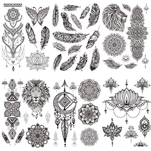 Ooopsi 8 Sheets Black Henna Temporary Tattoos for Women Girls - Feather Mandala Flower Tattoo Sticker for Adults Body Art Stickers Lace Indian Mehndi Tatoos