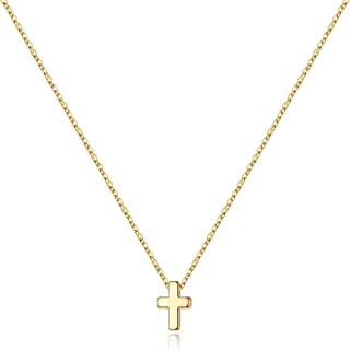 M MOOHAM Cross Necklace for Women, Dainty Gold Plated Cross Pendant Necklace Sideways Cross Choker Layered Cross Necklace ...