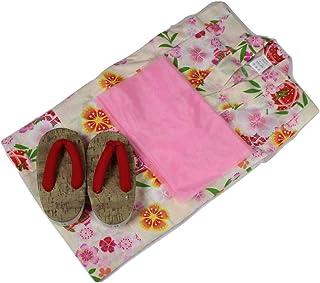 浴衣セット 女の子 ゆかた(桜?まり)黄色(紅梅織り) 3点セット KWG-7 100/110/120cm