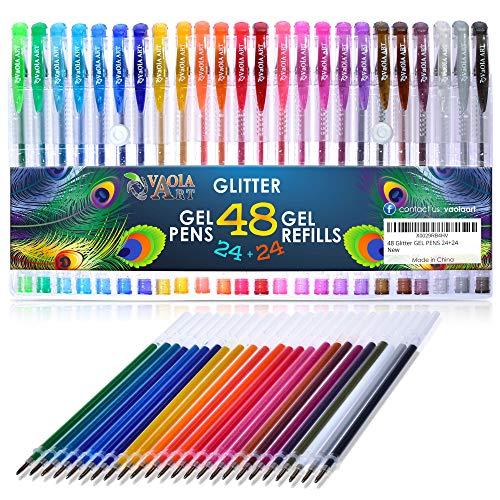 Color Gel Pens for Kids Color Gel Pens with Glitter Refills Pen Sets for Girls Spirograph Pens Jelly Pens Art Set Sparkly Pens 48 Piece Set 24 Glitter Gel Pens Plus 24 Refills
