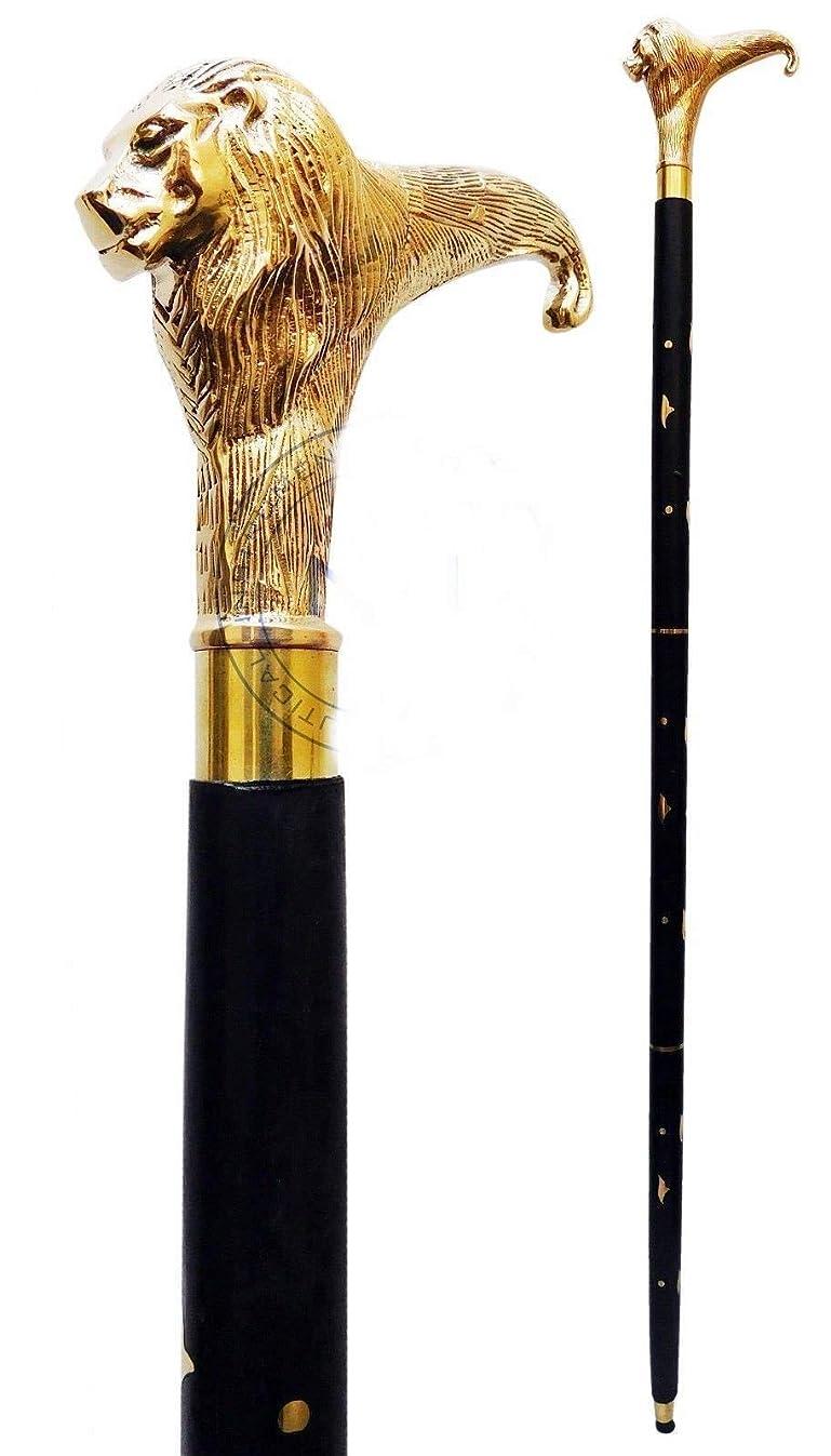Brass Walking Stick Solid Vintage Designer Lion Head Wooden Cane Antique Style