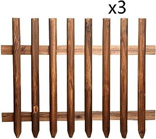 ZHANWEI Garden Fence Carbonization Wood Picket Fencing, Outdoor Flexible Decor Garden Edging Border, 2 Sizes (Color : 3pcs...