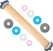 Gorilla Grip Premium Rolling Pin, Adjustable Dough Roller Solid Beechwood, Removable Thickness Rings to Measure Doughs, Pr...