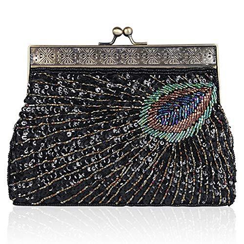 Coucoland Clutch Damen Pfau Muster 1920s Handtasche Abend Party Geldbeutel Elegante Abschlussball Handtaschen Hochzeit Braut Zubehör (Stil 2-Schwarz)