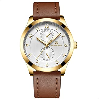 Naviforce 3004 G-W-L.BN Leather Round Analog Watch for Men - Brown