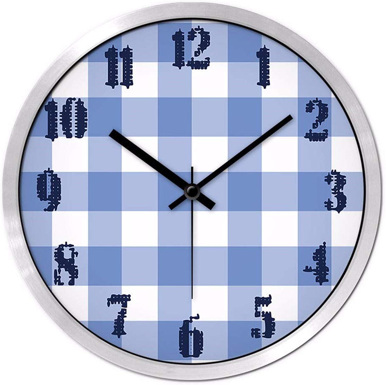 suministro directo de los fabricantes WLL-LLW WLL-LLW WLL-LLW Reloj Bracket Clock Mesa Colgante Azul del Restaurante del Dormitorio de la Tela Escocesa, 14 Pulgadas, Marco de Plata Negro de la Aguja  minoristas en línea