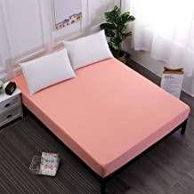 AUXCHENGFCAU Solid Color Mattress Cover, Elastic White/Black Waterproof Mattress Cover Pad Sheet Cover (Color : Coral Red,...
