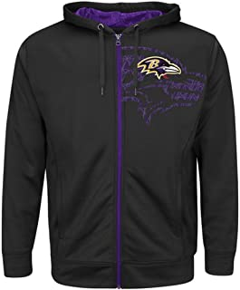 Majestic Baltimore Ravens NFL Mens Coverage Sack Full Zip Hoodie Black Big & Tall Sizes