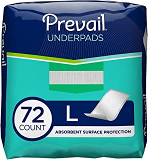Prevail Fluff Incontinence Underpads, 18 Count, (Pack of 4)