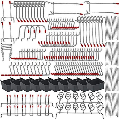 228PKS Pegboard Hooks Assortment with Metal Hooks Sets, Pegboard Bins, Peg Locks for Organizing Storage System Tools Accessories