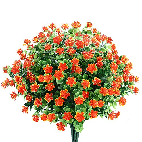 Ksnnrsng Künstliche Blumen,4 Stück Kunstblumen Grün UV-beständige Pflanzen Sträucher Unechte Blumen Innen Draussen für Zuhause Garten Braut Hochzeit Party Dekor (Orange)