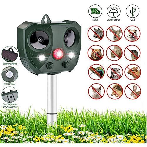 LGFB Dispositif d'expulsion Solaire répulsif Multifonctionnel à ultrasons pour Animaux et antiparasitaires répulsif d'extérieur étanche à l'eau Mouser for Flexible for Farm Ranch Garden
