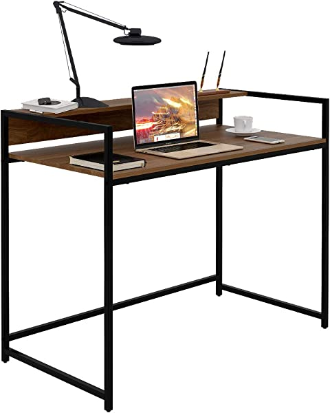 WLIVE Computer Desk Office Table With Raised Top Storage Shelf Modern Large Computer Table Studying Writing Desk Workstation For Home Office Walnut Oak