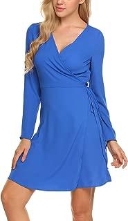 Women's Plain Long Sleeve Dress Flowy Midi Work Casual Dresses with Belt