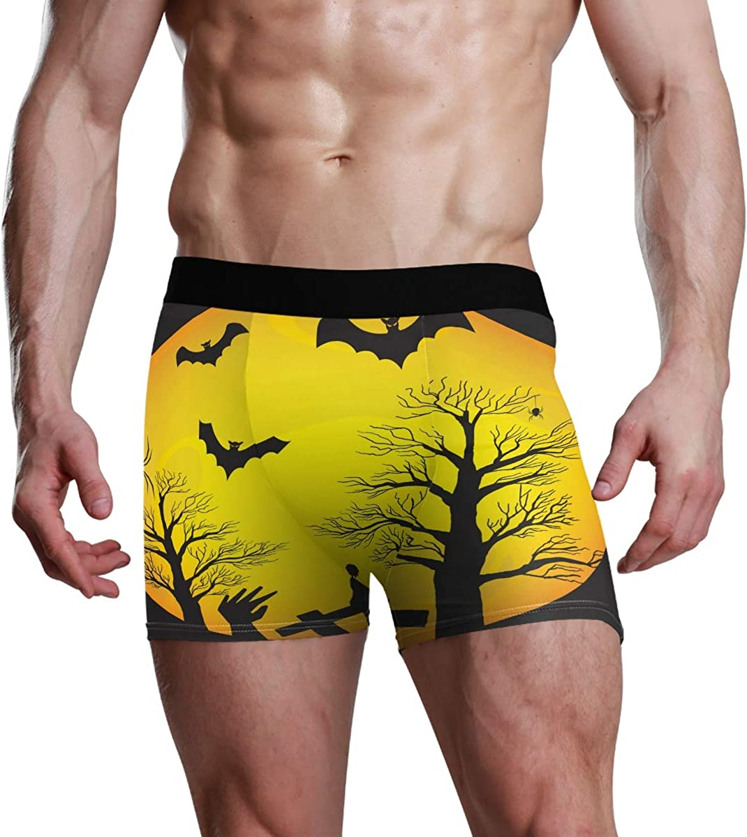 HangWang Mens Underwear Briefs Lonely Big Round Moon Breathable Long Boxer Briefs Underwear Boys