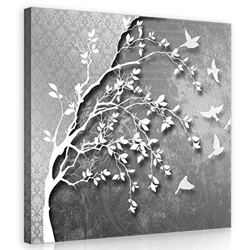 FORWALL Bilder Canvas Silber Baum mit Vögeln O2 (80cm. x 80cm.) Leinwandbilder Wandbild AMFPP10231O2