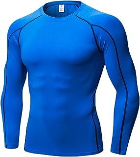 Zhuhaitf 伸縮性のあるスポーツ運動メンズシャツ 通気性に優れた圧縮シャツ長袖ジョギングベース層 クイック乾燥