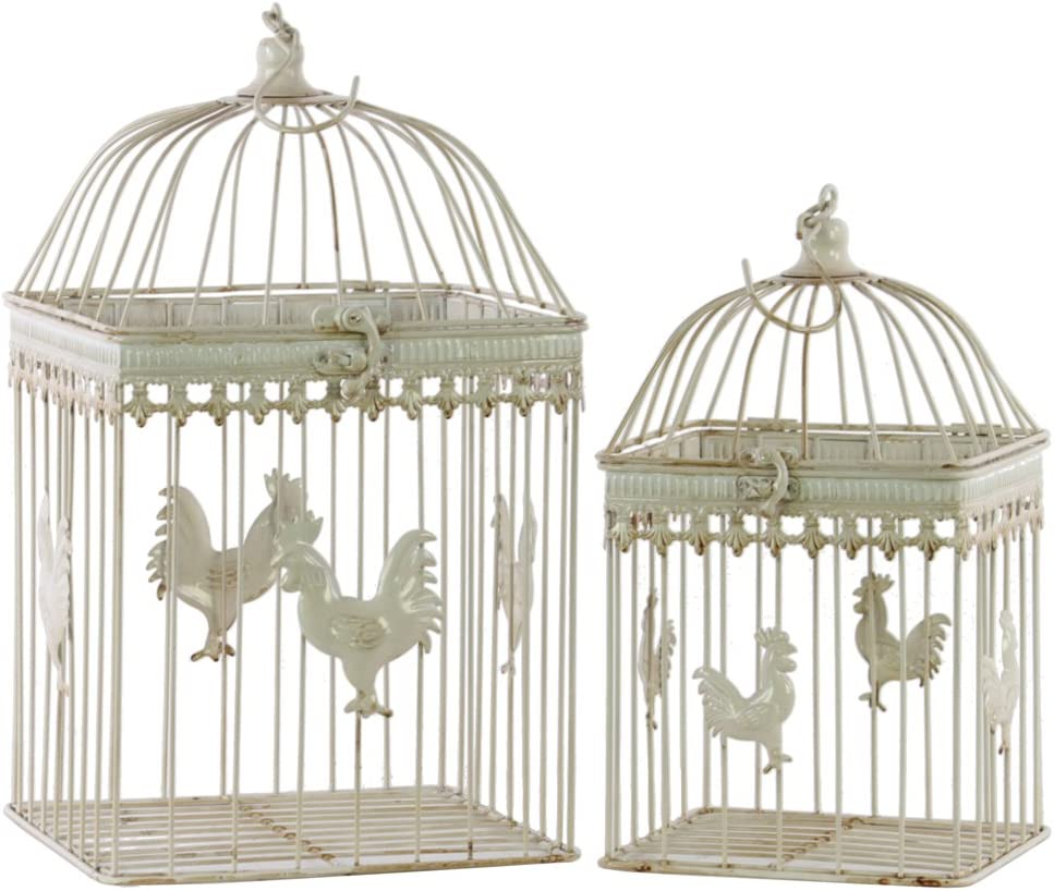 Urban Trends Metal Virginia Beach Mall Square Bird Cage Relief Hook with A surprise price is realized Rooster and