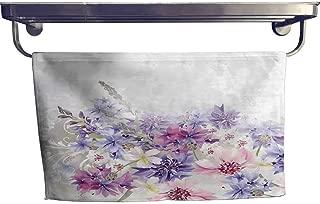 Lavender Customized Bath Towel Combination Pastel Cornflowers Bridal Classic Design Gentle Floral Wedding Decor Print Fancy Hand Towels Set W 20 x L 20 Violet Pink White