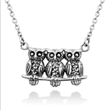 """Chuvora 925 Sterling Silver Triple Owls Family Sisters Brothers Friends on Tree Branch Pendant Necklace 18"""""""