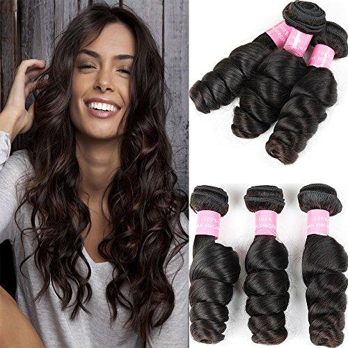 Brazilian Virgin Hair Loose Wave Hair Weave 3 Bundles Human Hair Loose Wave Bundles 100% Unprocessed Remy Hair Bundles Virgin Human Hair Extensions Curly Weave Natural Black(28 28 28)