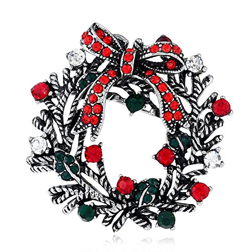 Bluelover Natale Corona Festivo Spilla Regalo Camicia Collare Spilla Scheggia & Oro - Argento